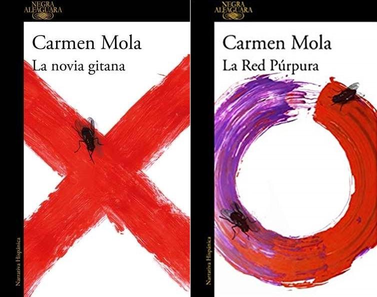 Las portadas de los libros La novia gitana y La red púrpura escritos por Carmen Mola