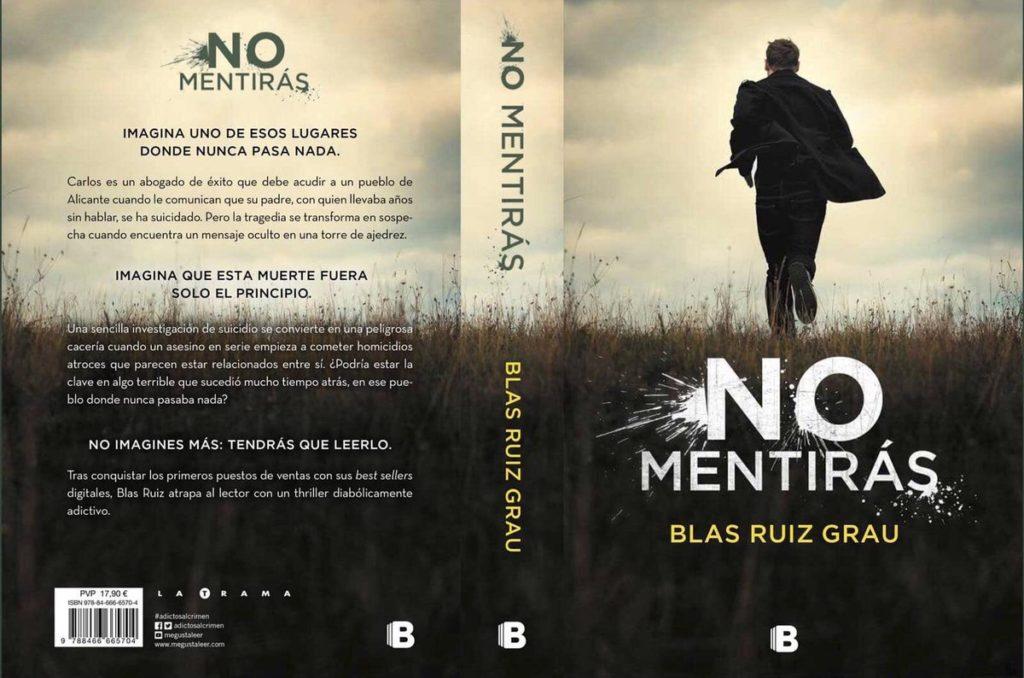 """Portada y contraportda de la novela """" No mentirás"""" de Blas Ruiz Grau"""