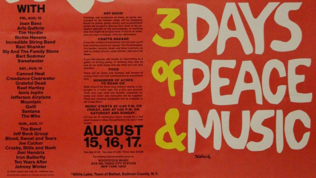 50 aniversario de Woodstock, cartel de 1969