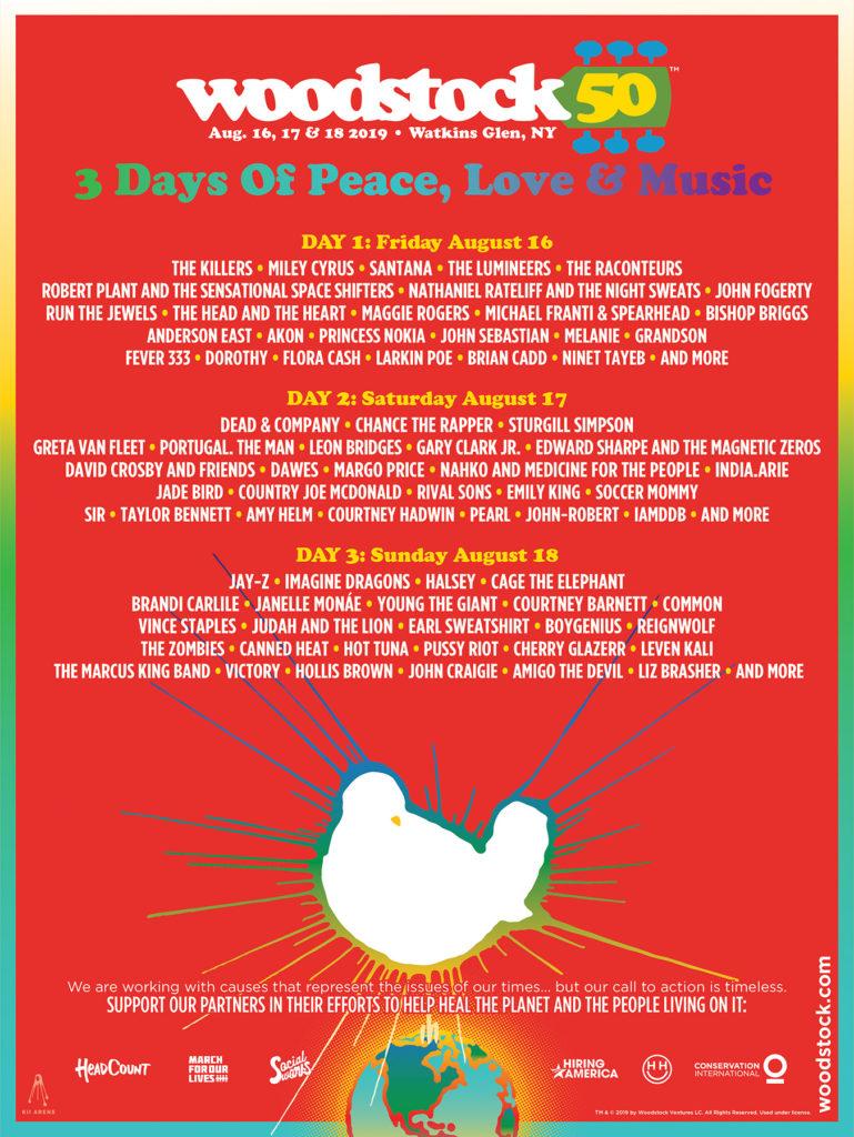 50 aniversario de Woodstock, cartel del evento