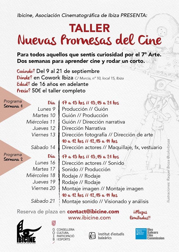 Programa del taller Nuevas promesas del cine. Ibicine