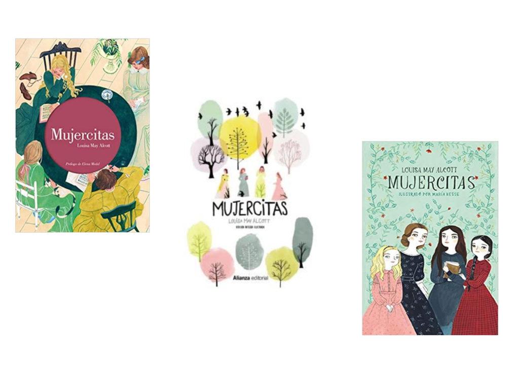 Distintas versiones de la novela Mujercitas, la del medio corresponde a la de Alianza editorial