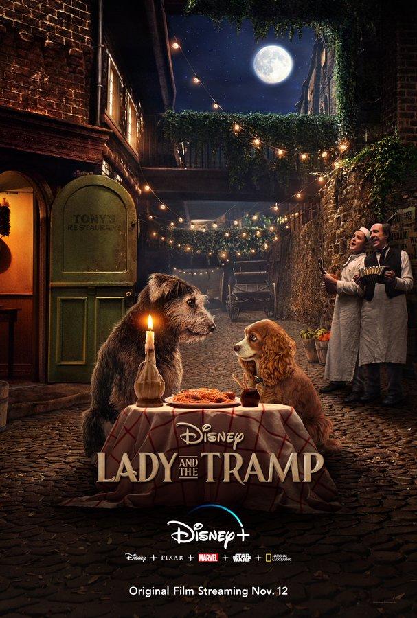 Cartel de La dama y el vagabundo, Disney