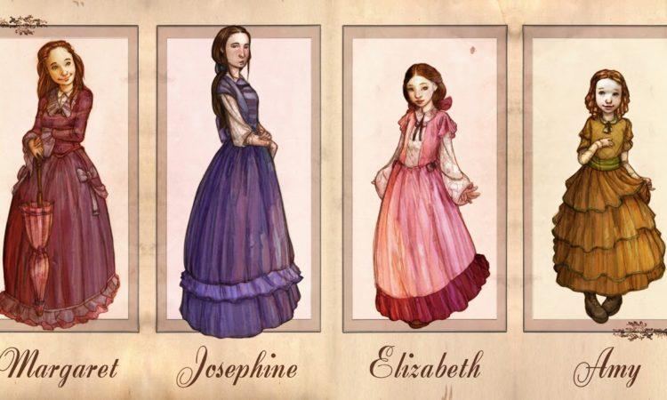 Dibujo donde podemos ver las ilustraciones sobre las protagonistas de Mujercitas
