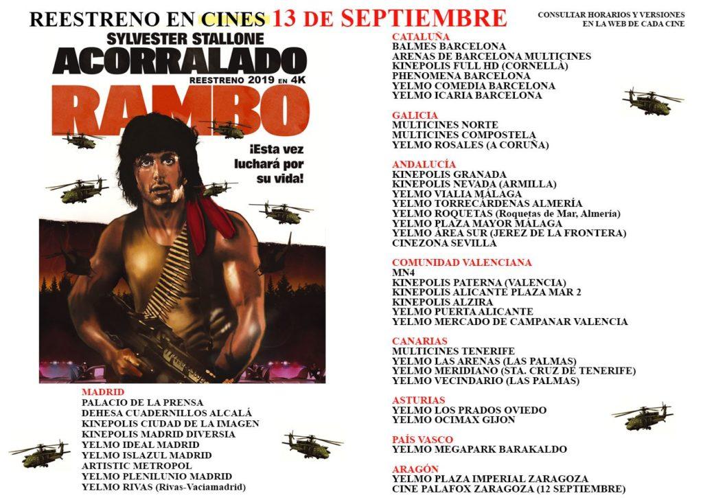 Cines en los que se re estrena Rambo