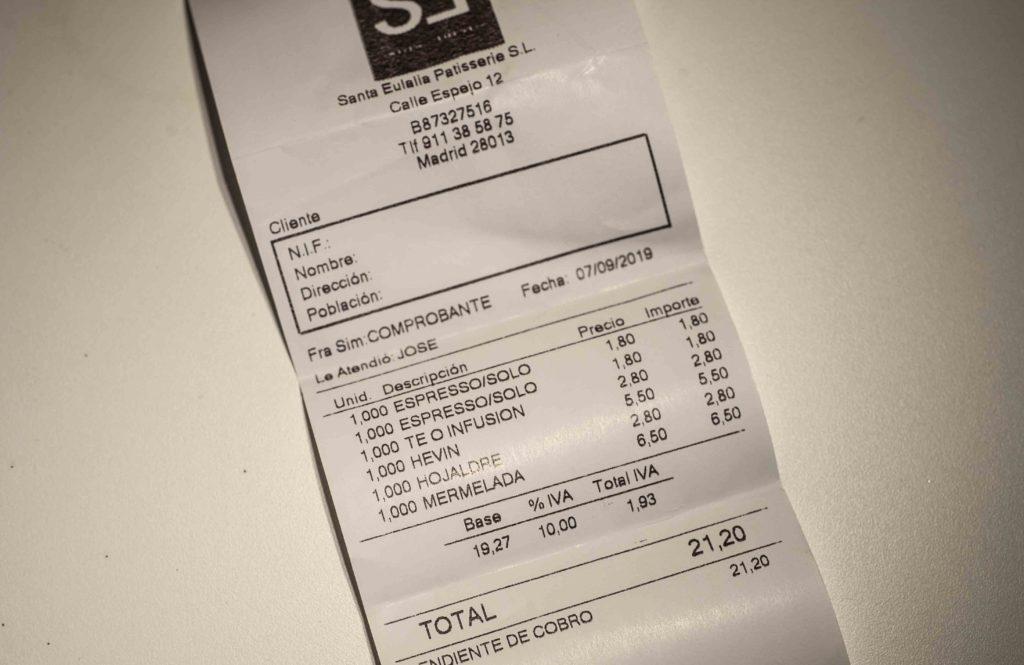 Ticket de compra Santa Eulalia