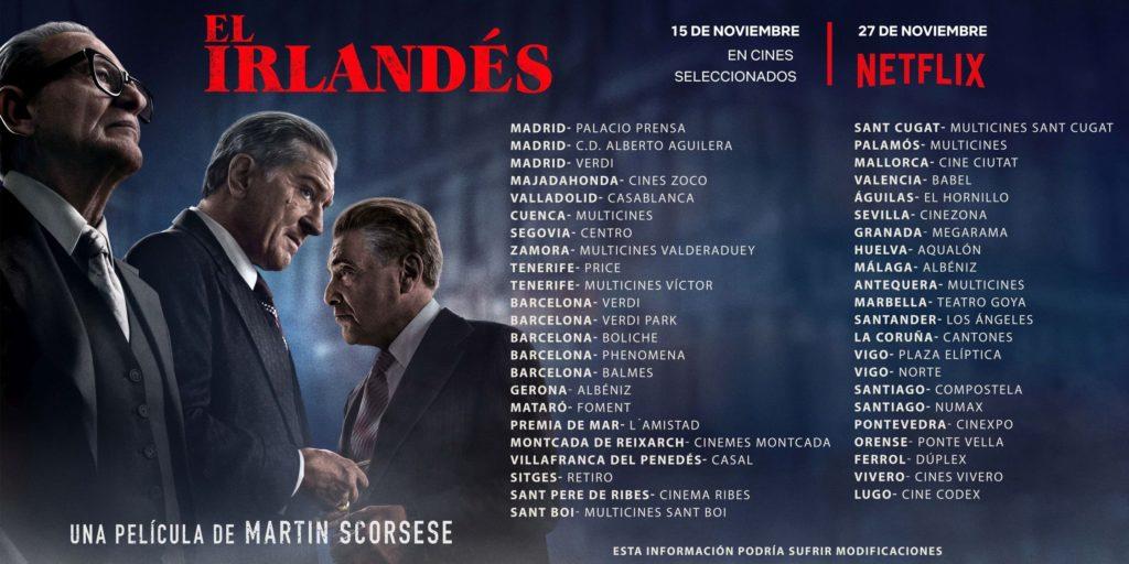 Cines para ver El irlandés, estrenos del 15 de noviembre