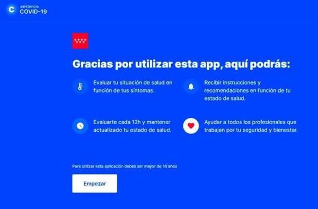 Captura de pantalla de la webapp de la Comunidad de Madrid