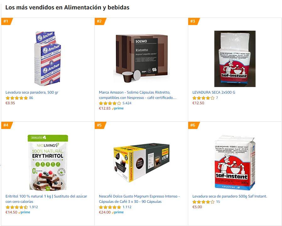 Ranking de productos más vendidos en Amazon en la sección de alimentación y bebidas