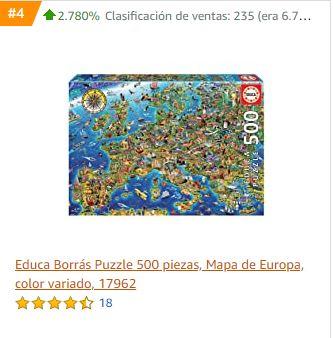 Captura del incremento de ventas de este puzzle en Amazon
