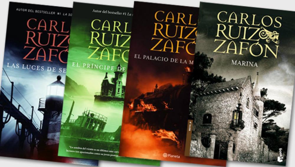 Portadas de la Trilogía de la niebla y Marina de Carlos Ruiz Zafón
