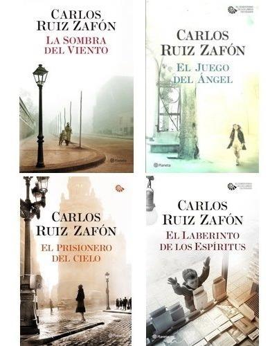 Portadas de los libros que forman parte de la tetralogía de El cementerio de los libros de Carlos Ruiz Zafón