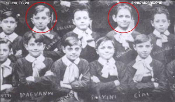 Sergio Leone y Ennio Morricone en una fotografía del colegio