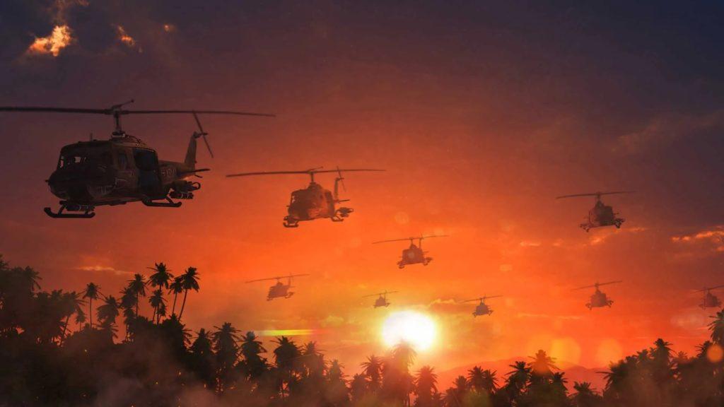 Helicópteros en misión de combate