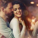 Sentimental happy couple in love bonding