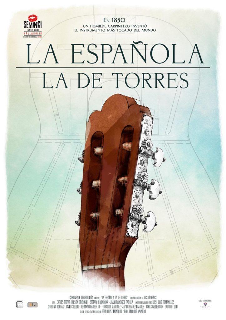 Cartel de La española. La de Torres. Un homenaje al creador de la guitarra española en los estrenos del 16 de octubre