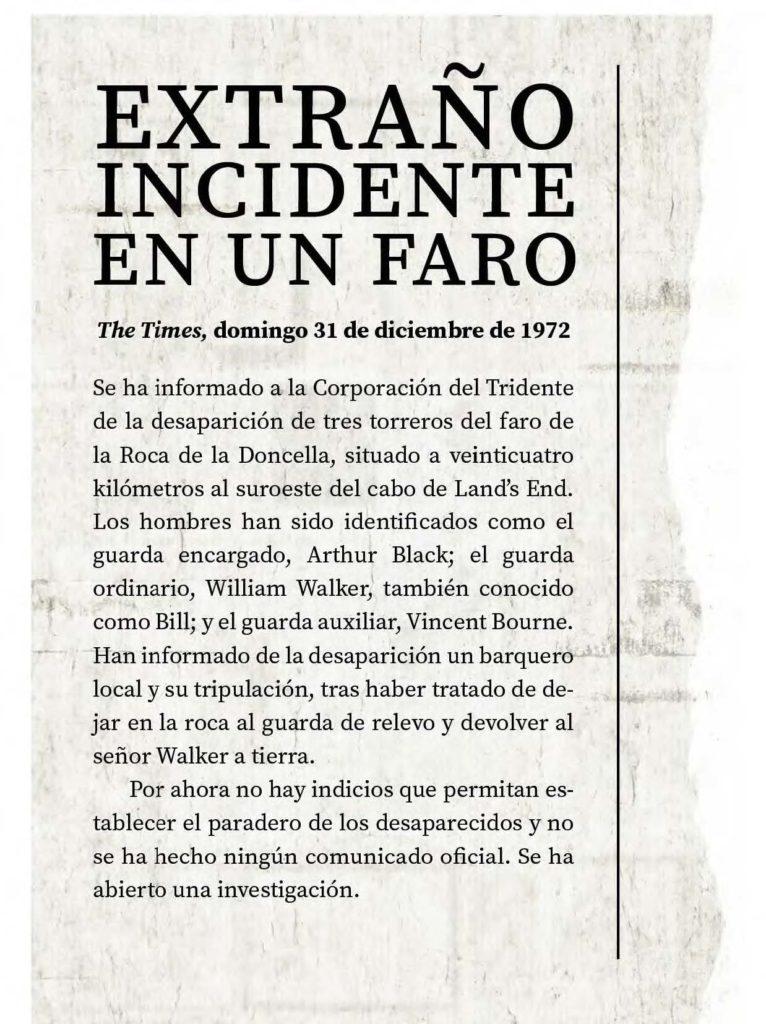 Extracto de un periódico donde se narra el suceso basado en la novela ' Los guardianes del faro' de Emma Stonex