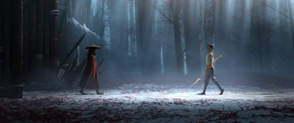 Raya ante Naamari en un plano clásico de un duelo. Raya y el último dragón