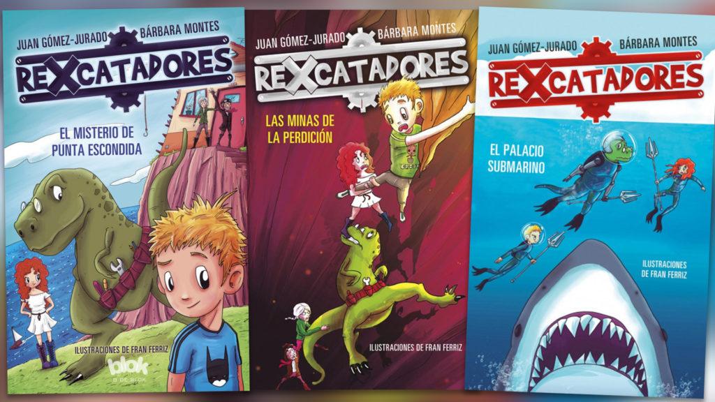 Portada de los libros infantiles  publicados por Bárbara Montes y Juan Gómez-Jurado de la serie Rexcatadores