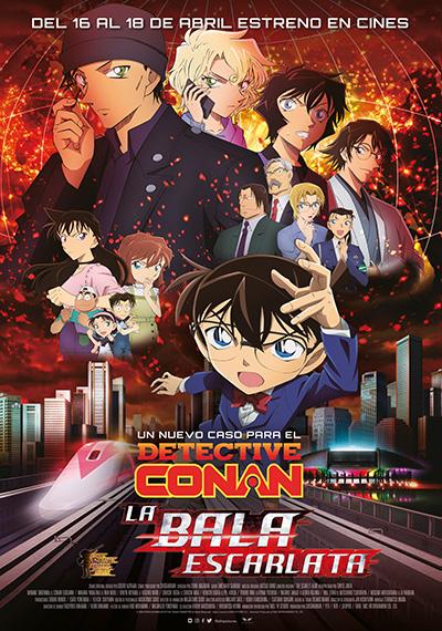 Póster de Detective Conan: La bala escarlata. La primera animación presente en estos estrenos del 16 de abril