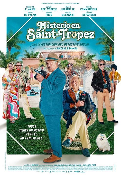 Póster de  Misterio en Saint-Tropez , una comedia francesa entre los estrenos del 23 de julio