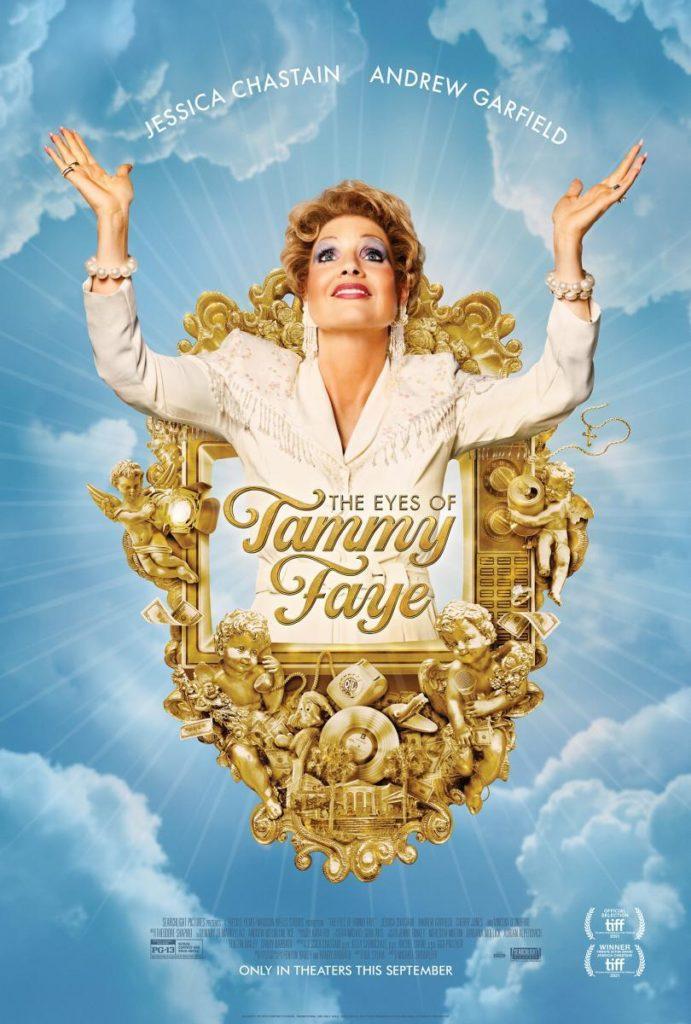 Cartel de The Eyes of Tammy Faye, dentro del palmarés del 69 SSIFF ha cosechado la Concha de Planta a mejor interpretación protagonista ex-aequo con As in Heaven